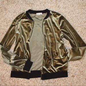 Velvet zip up bomber jacket